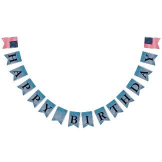 Azul de Paisley del mensaje del feliz cumpleaños Banderines