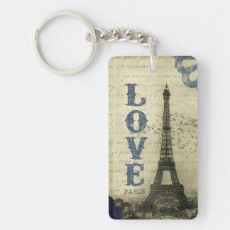 Azul de París el   del vintage Llavero Rectangular Acrílico A Doble Cara