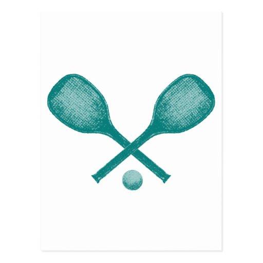 azul de pavo real de las estafas de tenis tarjeta postal