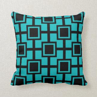 Azul de pavo real geométrico de moda de la rejilla cojín