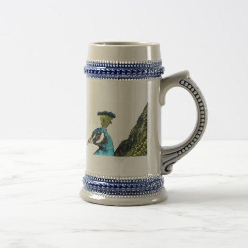 Azul de pavo real jarra de cerveza