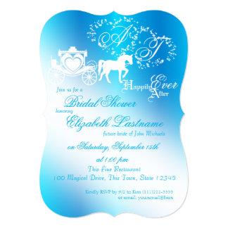 """Azul de pavo real nupcial de la ducha del carro invitación 5"""" x 7"""""""