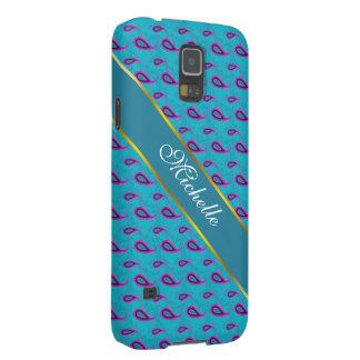 Azul de pavo real Paisley Funda Para Galaxy S5