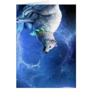 Azul de pintura del lobo y   de la luna tarjeta pequeña