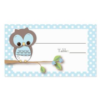 Azul de Placecard el | del bebé del búho Plantillas De Tarjetas De Visita