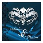 Azul de plata de la mascarada Jeweled casando la Invitación 13,3 Cm X 13,3cm