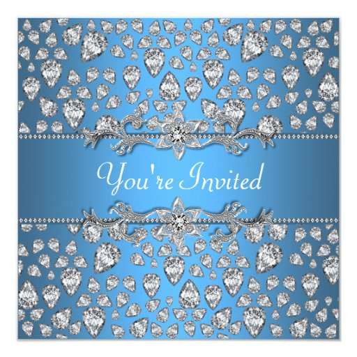 Azul de plata de los diamantes toda la invitación