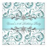 Azul de plata de los diamantes todo el fiesta de invitaciones personales