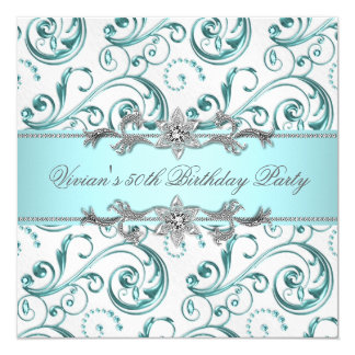 Azul de plata de los diamantes todo el fiesta de invitación 13,3 cm x 13,3cm