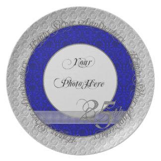 Azul de plata del damasco de la placa de la foto d platos