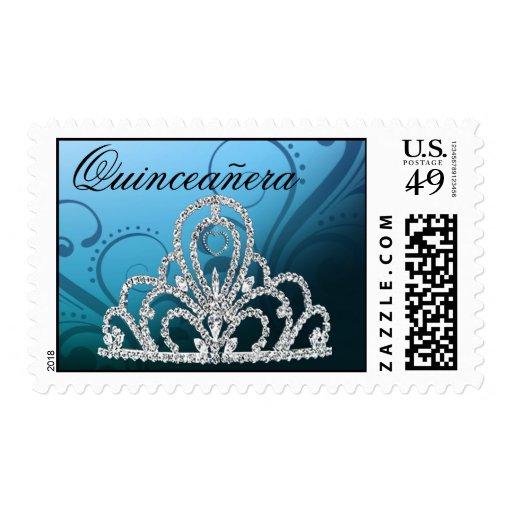 Azul de princesa Tiara Postage del cumpleaños de Q