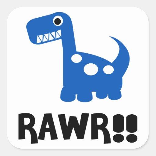 Azul de Rawr Dino Pegatina Cuadradas Personalizada