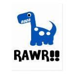 Azul de Rawr Dino Postal