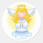 Azul de rogación del ángel pegatina redonda