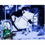 azul de salto del caballo árabe posterized escultura fotográfica