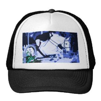 azul de salto del caballo árabe posterized gorras