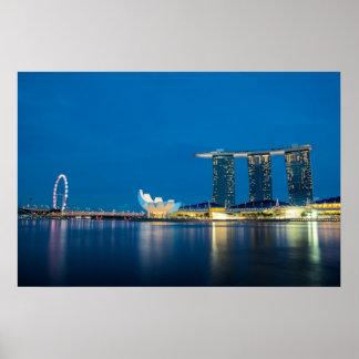 Azul de Singapur por la bahía Póster
