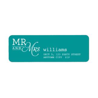 Azul de Sr. y de señora typography teal de la ETIQ Etiquetas De Remite