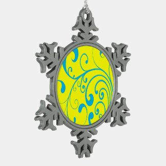 Azul de Swirly Adorno De Peltre En Forma De Copo De Nieve