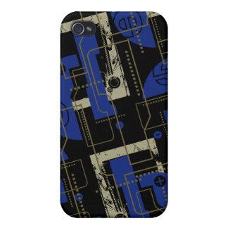 Azul de Techno en el negro i iPhone 4/4S Carcasa