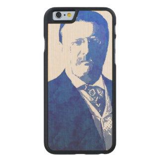 Azul de Teddy Roosevelt del retrato del arte pop Funda De iPhone 6 Carved® Slim De Arce