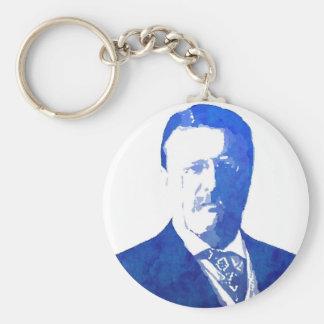 Azul de Teddy Roosevelt del retrato del arte pop Llavero Redondo Tipo Pin