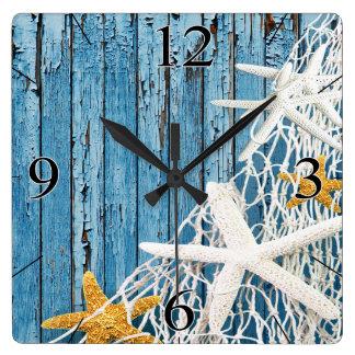 Azul de vida de madera de Coastal el | de la playa Reloj Cuadrado