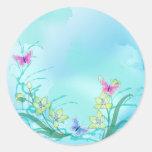 Azul de Whispy con las flores y las mariposas Pegatina Redonda