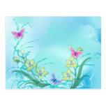 Azul de Whispy con las mariposas Tarjetas Postales