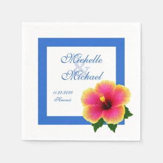 Azul del acontecimiento del boda de la flor del servilleta de papel