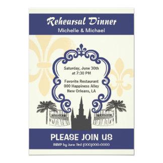 """Azul del acontecimiento del boda de New Orleans Invitación 5"""" X 7"""""""