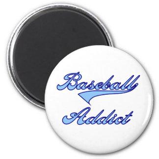 Azul del adicto al béisbol imán de frigorifico