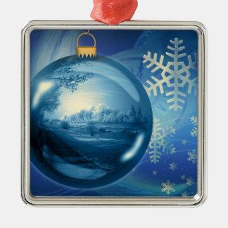 Azul del advenimiento de la tarde de la bola del o ornamento de navidad