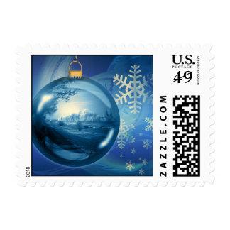 Azul del advenimiento de la tarde de la bola del o sello postal