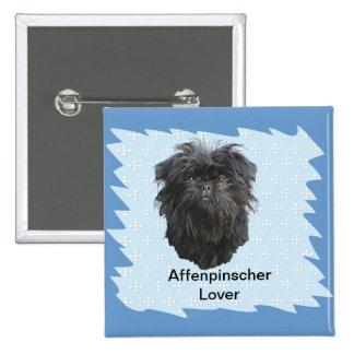 Azul del Affenpinscher con los diamantes blancos Pin Cuadrado