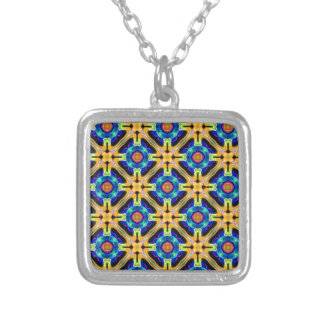 azul del amarillo del arte del kaleido colgante cuadrado
