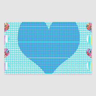 Azul del amor rectangular pegatina
