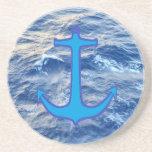 Azul del ancla de la agua de mar posavasos manualidades