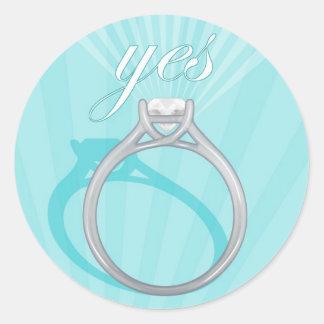"""Azul del anillo de compromiso """"sí"""" - pegatina redonda"""