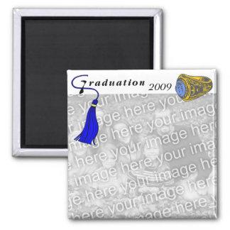 AZUL del anillo de la graduación Imán Cuadrado
