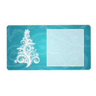 Azul del árbol de navidad de Swirly de la etiqueta Etiquetas De Envío