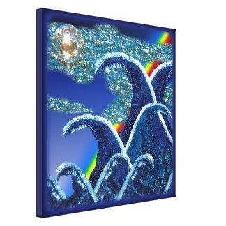 Azul del arco iris de las ondas de la lentejuela d impresiones de lienzo