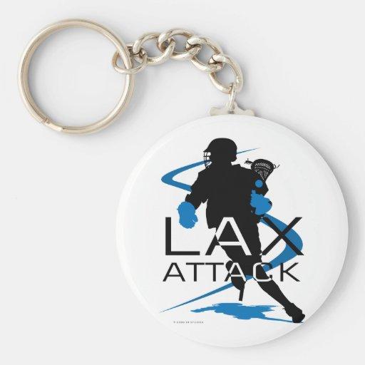 Azul del ataque de LAX de los muchachos de LaCross Llaveros Personalizados