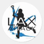 Azul del ataque de LAX de los muchachos de LaCross Pegatina Redonda