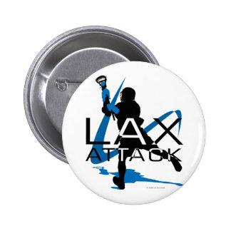 Azul del ataque de LAX de los muchachos de LaCross Pin Redondo De 2 Pulgadas