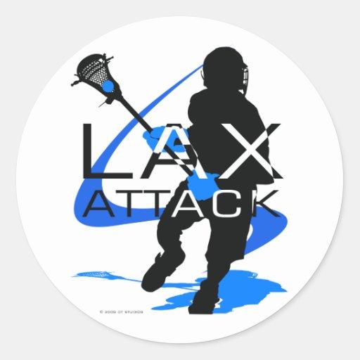 Azul del ataque de LAX de los muchachos de Pegatina Redonda