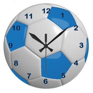 Azul del balón de fútbol el | reloj redondo grande