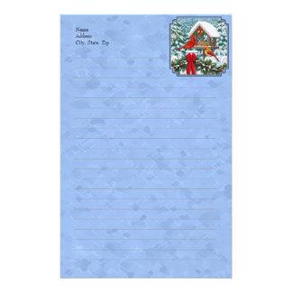 Azul del banquete del navidad de los cardenales papeleria de diseño