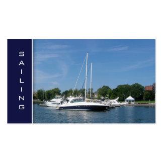 Azul del barco de navegación de las tarjetas de tarjetas de visita