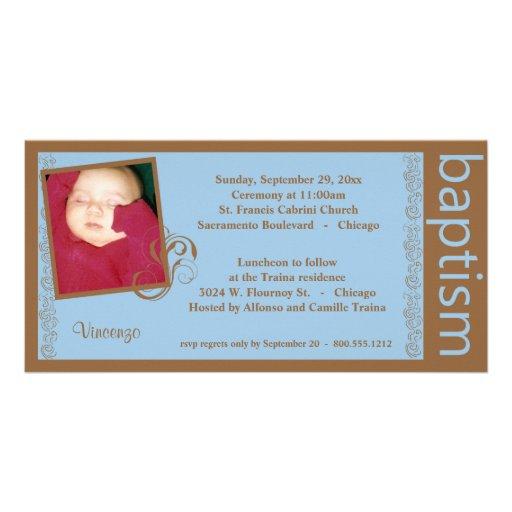 Azul del bebé e invitación de la foto del bautismo plantilla para tarjeta de foto